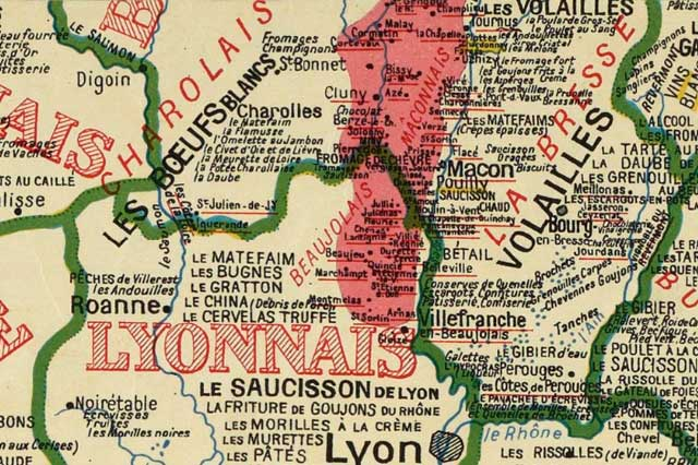 Cartographie, spécialités culinaires, bourgogne, lyonnais, Rhône, Maconnais, Charollais, Charolles, Macon, Lyon